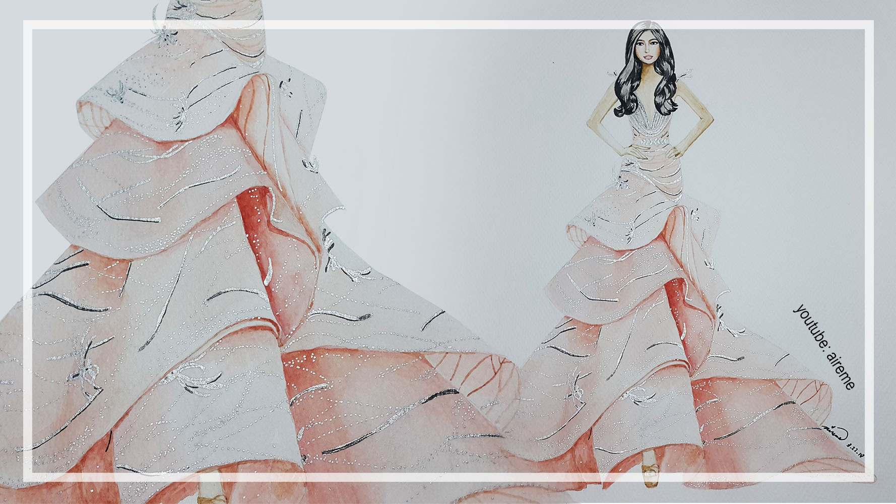 Peach Ruffled Gown Fashion Illustration by Aireme Studio